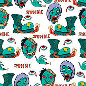 Cool modern hand drawn patterns for teens with a zombie. Seamless backgrounds for the design of textiles, phone covers, web sites, gift wrapping, notebooks, t-shirt, prints.