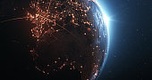 Earth Seen From Space With Glowing Connection Lines - Technology, Global Communications, Flight Routes, Big Data