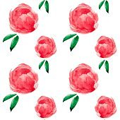 Floral seamless pattern with watercolor red, pink peonies. For backgrounds, textiles, wrapping papers, greeting cards. Flower illustration