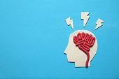 Plasticine head and brain concept. Smart mind, neurology knowledge