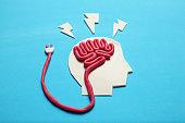 Plasticine head and brain. Smart critic mind. Creative think