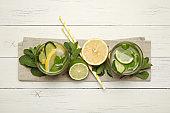 Fresh detox lemon water, healthy drink. Summer citrus lemonade