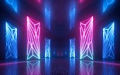 3d render, abstract futuristic neon background, glowing vertical panels, ultraviolet light, reflections, performance stage decorations