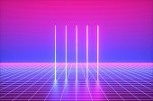 3d render, pink blue neon lights, vertical lines, abstract background, virtual reality, vibrant colors, laser show