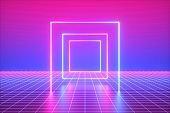3d render, pink blue neon lights, abstract background, virtual reality, square shape, vibrant colors, laser show