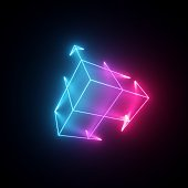 3d render, neon abstract background with glowing lines, isolated cube, cyber shape in virtual reality, laser show