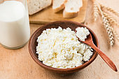 Curd cheese, cottage cheese or tvorog in bowl