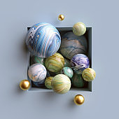 3d abstract background, assorted marble balls inside square niche