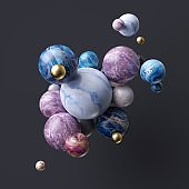 3d abstract assorted marble balls isolated on black background