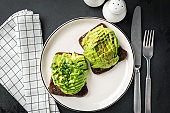 Rye bread and avocado toast