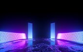 3d render, pink blue neon abstract background, glowing panels in ultraviolet light, futuristic power generating technology, terrain