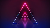 3d render, abstract neon background, violet pink glowing triangular shapes, empty corridor perspective, long tunnel, fashion podium, performance stage decoration, triangles in ultraviolet light