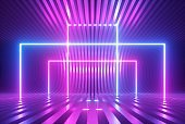 3d render, pink blue violet neon abstract background with glowing square shapes, ultraviolet light, laser show performance stage, floor reflection, rectangular frame gates