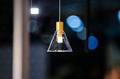Clear glass chandelier. Minimalism pendant lamp for the bar