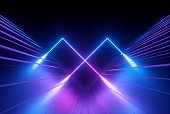 3d render, blue violet neon abstract background with glowing lines, ultraviolet light, laser show, wall reflection