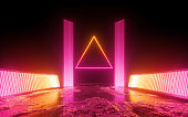 3d render, red pink neon abstract background, triangular shape in ultraviolet light, futuristic power generating technology, glowing panels, terrain