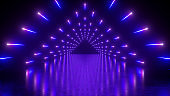 3d render, abstract neon background, performance stage, glowing violet blue lights, triangular tunnel, corridor, floor reflection