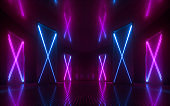 3d render, abstract neon background, blue pink purple glowing lines, X letter, cross symbol, vertical panels, performance stage decoration, virtual technology concept