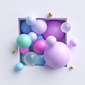 3d abstract illustration, assorted pink blue pastel balls inside square niche isolated on white background
