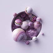 3d abstract background, assorted pink marble balls inside round white niche