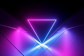 3d render, pink blue neon abstract background with glowing triangle, ultraviolet light, laser show, wall reflection, triangular shape