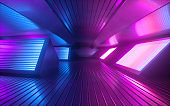 3d render, blue pink neon abstract background, glowing panels in infrared light, futuristic power generating technology
