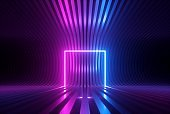 3d render, pink blue neon abstract background with glowing square shape, ultraviolet light, laser show performance stage, wall reflection, blank rectangular frame, gate