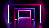 3d render, abstract neon background, violet pink glowing rectangular shapes in perspective, empty corridor, long tunnel, fashion podium, performance stage decoration in ultraviolet light