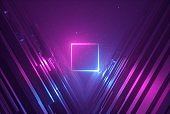 3d render, pink blue neon abstract background with glowing square, ultraviolet light, laser show, wall reflection, rectangular shape