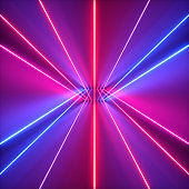 3d render, neon abstract background, red blue violet glowing lines, ultraviolet light, laser rays