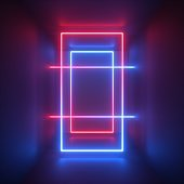 3d render, red blue neon light, abstract background with glowing lines, rectangular shapes, ultraviolet spectrum