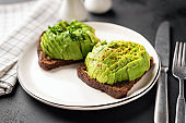Rye toast with avocado