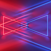 3d render, red blue neon light, abstract background with glowing triangles and lines, ultraviolet spectrum