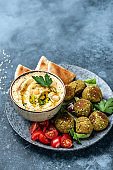 Hummus, homemade baked falafel and toasted pita bread