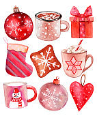 Merry Christmas! watercolor. happy new year. present. biscuits. caramel. toy ball. snowflakes. heart on christmas tree. sock set. cups.  snow. snowman. tea. coffee. cappuccino. milk