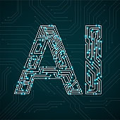 Artificial Intelligence with circuit board. Abstract technology concept
