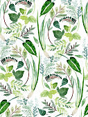 Seamless watercolor pattern with floral elements