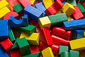 Kid toys background. Colorful Wooden building block