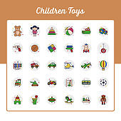 Children Toys Icons Set - Toy and Doll Icon Set With Outline Filled Style