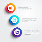 Vector 3 Colorful Marker Shapes Line Infographic. Three Step Template Design