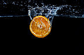 Orange with fresh water splash
