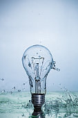 Bulb lamp with motion freezed water splashes.