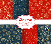 Christmas seamless pattern luxury collection Snowflake Christmas tree ball toy sweet candy New Year Christmas holiday background wallpaper wrapper Set seamless pattern print Winter luxury theme Vector