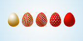 Easter egg Set of elegant modern luxury red gold Easter eggs with a spiral lines pattern specks dots on a light background Egg design element for elegant Easter cards luxury elegant graphic Vector