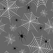 Spiderweb and spiders on a gray background Halloween theme Seamless pattern Creative design background of web sites wallpapers covers wrappers for Halloween Flat pattern of cobwebs and spiders Vector