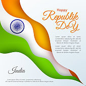 Banner of the Happy Republic Day in India Template with text and ribbon of colors of the national India flag Element design of postcard card banner poster Abstract background Vector creative ribbon