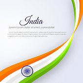 Poster with abstract curved lines wavy ribbon of colors national India flag and the name of the country India Element design of postcard card banner poster template Abstract background Vector ribbon
