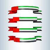 UAE flag Ribbons banners ribbon icon national flag of United Arab Emirates UAE For card banner on holiday theme National Day and Independence Day UAE celebration National background Vector ribbon set