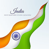 Card with wavy ribbon abstract curved lines of colors national India flag and the name of the country India Element design of postcard card banner poster template Abstract background Vector ribbon