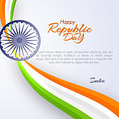 Template of the Happy Republic Day in India Template with text and ribbon of colors of the national India flag Element design of postcard card banner poster template Abstract background Vector ribbon